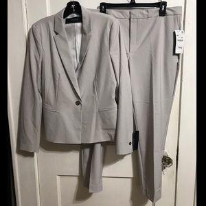 NWT Zara Basics light grey straight leg suit